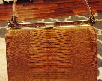 1960s Brown Alligator Embossed Leather Handbag from Bag by Marquise