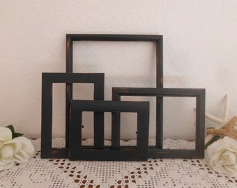 Black Picture Frame Set Rustic Shabby Chic Distressed Up Cycled Vintage Collection Traditional Modern Man Cave Home Decor Gift for Him Her
