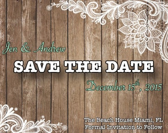 Save The Date Rustic Lace