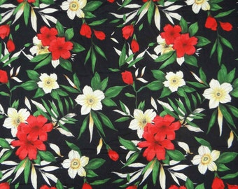Indian Black Floral Printes Fabric Beautiful Designer Fabric For Sewing Decorative Crafting Dressmaking Apparel Fabric By 1 Yard  ZBC5515