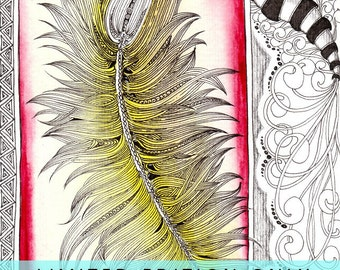 Feather Collection Art Collectibles Valentines gift LIMITED EDITION print Zentangle signed and numbered 6x8 Premium Giclee Watercolor print