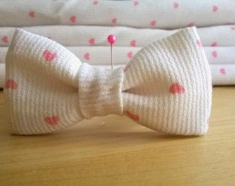 White tie with Pink Hearts bracelet