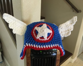 Super Cool Super Hero Hat with Wings - Handmade Crocheted Hats for Newborn to Adults