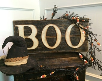 Rustic BOO Sign on Reclaimed Barn Wood (White