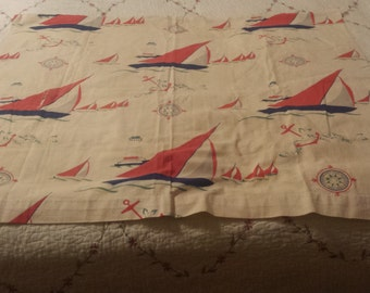 Vintage Sail Boat Fabric. Adorable. Several large pieces, Blue Sailboats , Anchors, Lighthouses and Compasses.