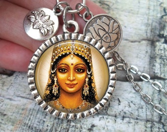 Lakshmi Necklace In Antique Silver with Lotus Flower Charms, Hindu Goddess of Prosperity and Good Fortune, Deity