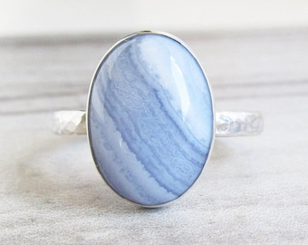 Blue Lace Agate Statement Ring - Gemstone Ring - Boho Wedding Mother of the Bride Gift - Hammered Ring for Women - Stackable Gypsy Ring