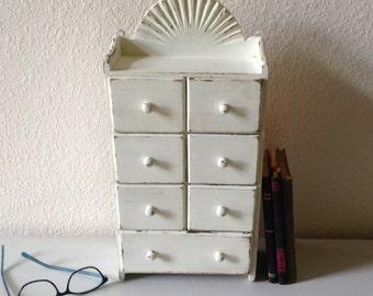 Wood Desk Organizer, Vintage Wood Spice Cabinet, Drawer Organizer, Shabby  Chic Office Suppy