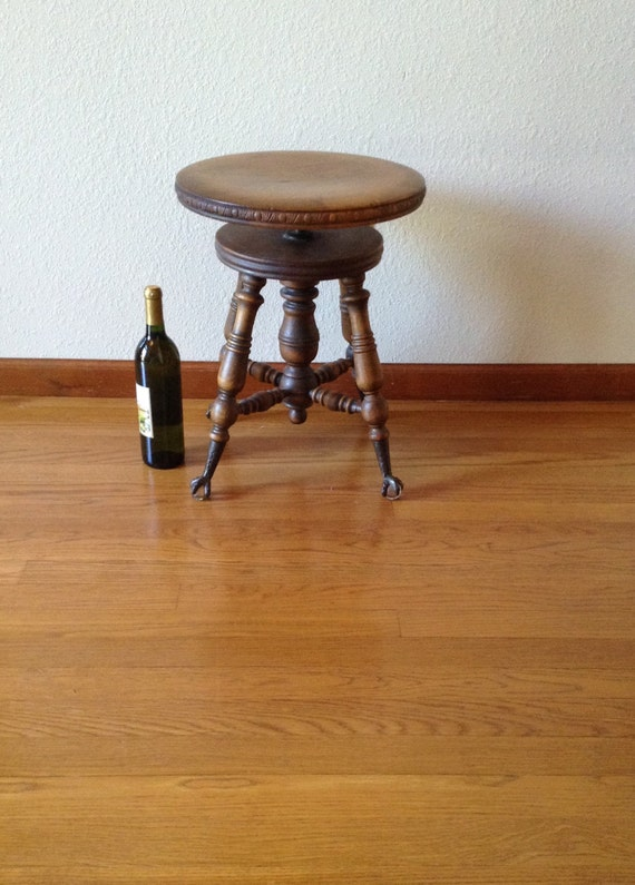 Antique Claw Glass Foot Piano Stool Vintage Stool Wood