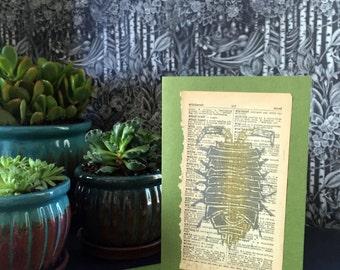 Original Art Note Card - Handprinted Sowbug