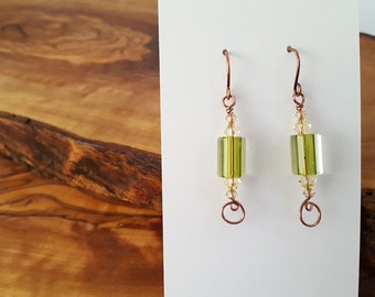 Glass bead earrings, cane glass earrings, furnace glass earrings, Swarovski, olive copper earrings, glass dangle earrings, simple earrings