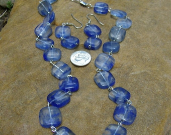 "Blueberry ""Quartz"" Glass Necklace and Earring Set"