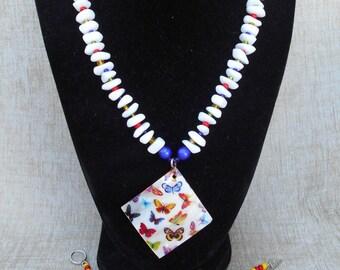 Butterfly Shell Necklace and Bracelet