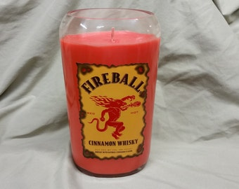 Hot Cinnamon Scented Soy Candle - Fireball Whisky Glass Liquor Bottle Soy Candle with Red Wax #MilosCandles
