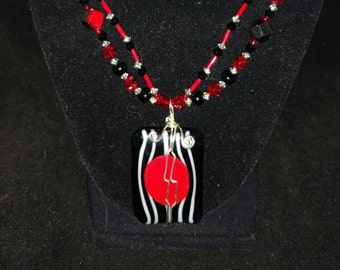 Red and Black Wire Wrapped Fused Glass Necklace