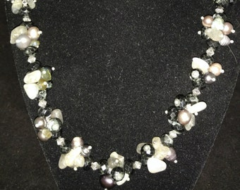 Pearl and Labradorite Cluster Necklace