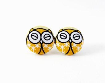 Owl Earrings, Studs, Fabric Earrings, Fabric Covered Earrings, Button Earrings, Fabric Button Earrings, Handmade