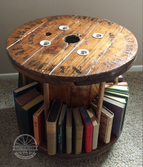 Items similar to reclaimed wooden cable spool bookmobile for Cable reel table