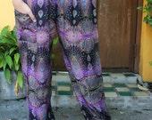 Hippie Pants Boho Clothing Peacock Design Purple unisex