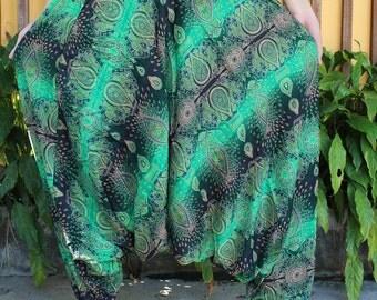 Women Harem Pants Hippie Clothing Drop Crotch Design Green