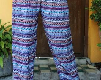 Women Hippie Pants Boho Clothing Harem Pants Yoga Wear Blue