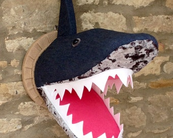 Handmade shark head faux taxidermy funky denim and velvet fabric wall mounted animal head trophy