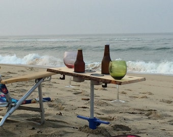 Custom drink table (engravable) holds cups/bottles/wine glasses/beer for the beach. Makes great wedding/groomsmen/bridesmaid gifts