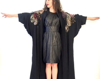 SALE -  VINTAGE - Black Batwing 80s Coat w. Embroidered Patchwork Shoulders