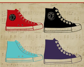 Tennis Shoe, Teen, Converse, Monograms,  Clipart, SVG, Vector, ai,png, eps, png, dxf, Template,Overlays, Silhouettes