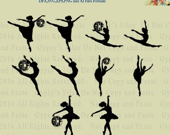 Dancer, Ballet, Modern Dance, Monograms, Vector,Clipart, svg, ai,eps, png, dxf, Cut File,Overlays, Silhouette