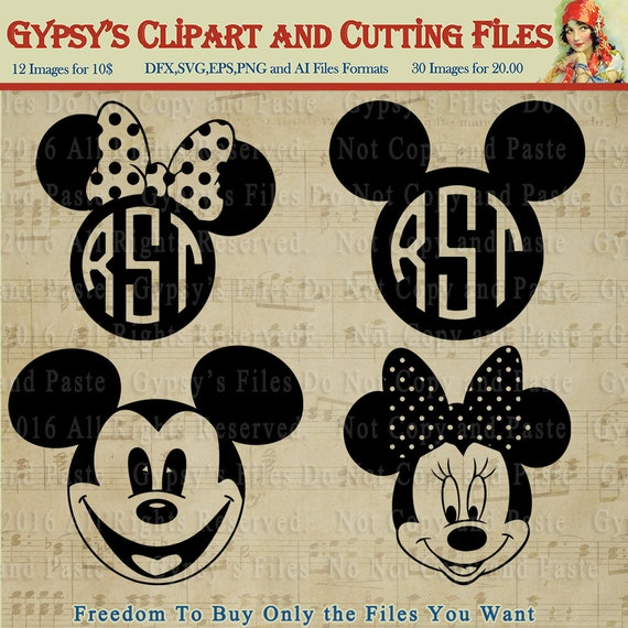 Mickey Mouse, Minnie Mouse, Mouse Ears, Monogram, Clipart, Vector ...