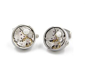 Watch Movement Steampunk Cufflinks Round Silver (SP147)