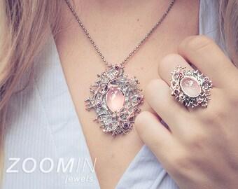 Handmade 925 sterling silver Alice healing natural pink rose quartz and rhodolite garnet ring