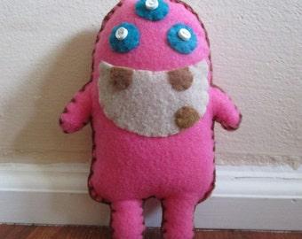 Cute Three Eye Pink Monster Plush Toy