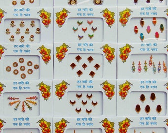 10 packs - mixed designer bindis, bollywood bindis, Fancy bindis, Temporary tattoos, Bindi Jewelry forehead tikka Gems Bellydance