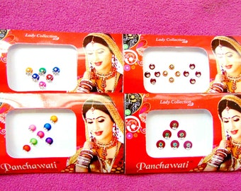 31 bindis - 4 bindi packs designer bollywood bindis / belly dance bindis / bindi stckers, body art tattoos