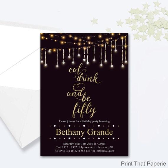 50th Birthday Invitation Fairy Lights Invitation Milestone