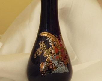 Blue Chinese Patterned Bud Vase