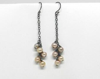 Feminine Edge: Pink Pearl Cluster Dangle Earrings