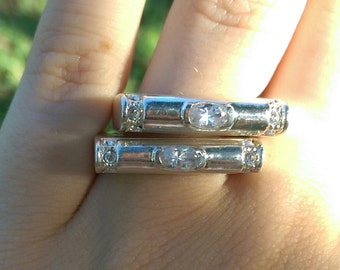 Interesting Silver & CZ Stacker Rings