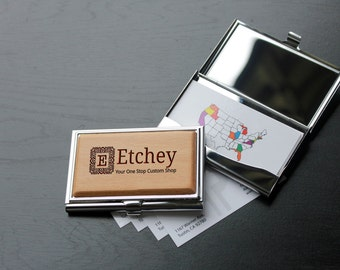 Personalized Business Card Holder, Custom Business Card Holder, Engraved Business Card Holder, Wood Business Card Holder --BCH-WS-ETCHEY