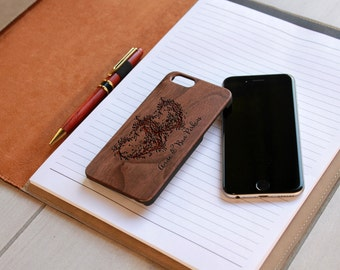 Personalized Iphone 6 case, Custom Iphone 6 case, Wood Iphone 6 case, Laser Engraved Iphone 6 case, Walnut --IP6-WAL-heart branch ip6w