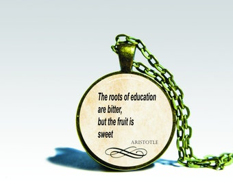 Aristotle QUOTE PENDANT Aristotle jewelry Inspirational quote pendant, quote jewelry, words pendant necklace for him or for her
