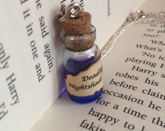 Deadly Nightshade Poison Bottle Necklace / Pendant / Bookmark / Earrings / Decoration / Keyring