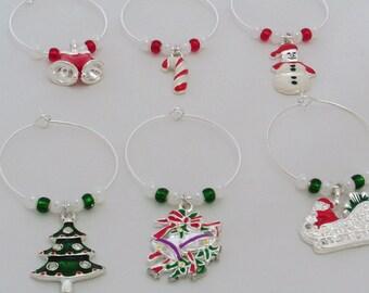 Set of 6 Christmas Themed Wine Charms