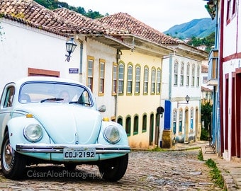 VW Beetle photography,instant download photography,old city picture,Ouro Preto Brazil,cobblestone street,colorful town,colonial city photo