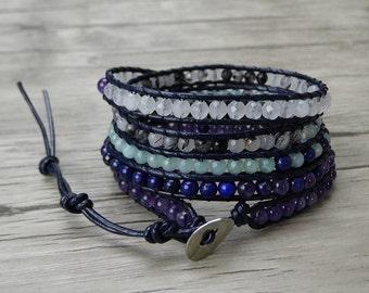 Mixed 5 wraps bracelet yoga bead leather bracelet boho leather wrap bracelet gemstone bead bracelet boho wrap bracelet bead jewelry SL-0312