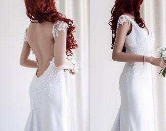 Low back Beach wedding dress/V-neck Backless wedding gown/ Cup sleeve wedding dress/Simple wedding dress.