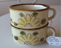Vintage Retro Classic Stoneware Yellow Daisy Handled Soup Bowl Mug - Perfect for Any Season - Set of Two