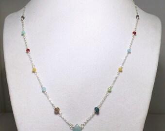 Aquamarine with mix of gemstones